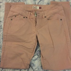 Pink skinny jeans juniors size 9
